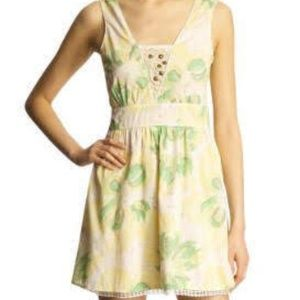 Free People Yellow Floral Cross Back Cotton Dress